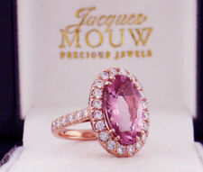 Diamond and VIVID Pink Morganite Oval (4.94 ct) Ring 6.34 TCW 18K ROSE Gold