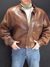 M.  Julian Adventures Men's Brown Fat Wrinkle Leather Jacket, Hood Men's 40  WOR