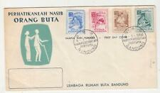 INDONESIA, 1956 Blind Relief Fund set of 4, Illustrated First Day cover.