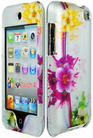 Pink Yellow Flowers / Grey Hard Case Cover for iPod Touch 4th Generation