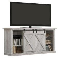 """NEW!! Twin Star Home Terryville Barn Door TV Stand for TVs up to 60"""", White Oak"""