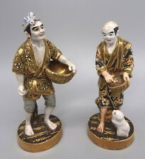More details for good quality pair 19th century japanese meiji satsuma porcelain figures