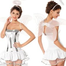 Ladies Sexy Xmas Christmas Angel + Wings & Halo Fancy Dress Costume Outfit 8-12