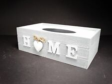 Shabby Chic GREY Tissue Box Wooden With 1 Decorative Heart And HOME word  #9