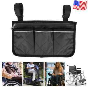 Wheelchair Mobility Scooter Armrest Side Bag Walker Hanging Pouch Organizer US