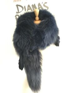 Blue Fox Fur Stole Wrap Real Fur Dyed Blue 1940's Vibe