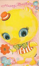 Vintage Happy Birthday Greeting Card ~ Cute 1970's Big Eyed Duck Flower Power