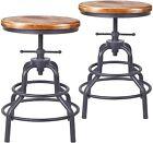 Industrial Vintage Bar Stools Swivel Kitchen Counter Height Adjustable Wooden