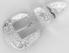 BELT BUCKLES 3pc Buckle Set Western Floral Scroll Rope Edge Silver 1.5 inch NWOT