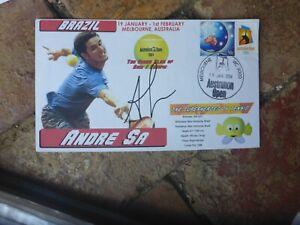 TENNIS STAR ANDRE SA BRAZIL HAND SIGNED  COVER AUSTRALIAN OPEN 2004
