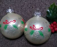 Vintage Christmas Ornament RAUCH 2 Mercury Glass Balls Mica Glitter Stencil Mica