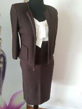 St John COLLECTION Knit 2 Piece Blazer & Sleeveless Dress Suit JT01 Brown Ivory