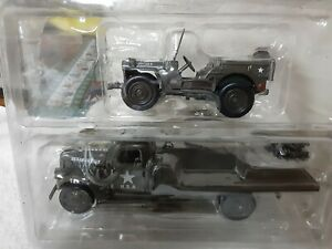 1941 Military Chevy Flatbed Truck & Jeep Willys 1:32 Diecast WWII