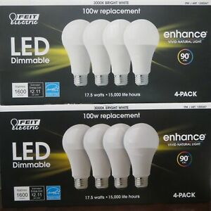 Feit enhance 90 CRI 17.5 W LED 100W Replacement Bulb Dimmable (8pk)-Bright White