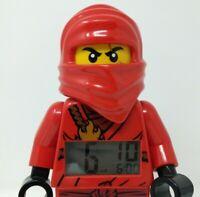 "Lego Ninjago Masters Of Spinjitzu Kai ""Red Ninja"" 9"" Alarm Clock With Weapon EUC"