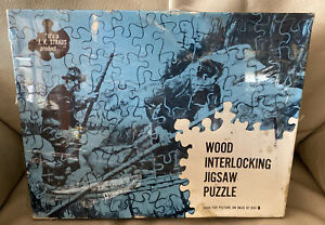 """J. K. Straus #229 Wood Jigsaw Puzzle 1000 Pc """"The Squire's Pair"""" Hunting Dogs"""