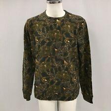 NEW WHISTLES Black Khaki Green Floral Cotton Sweatshirt Jumper Size UK M 131333W