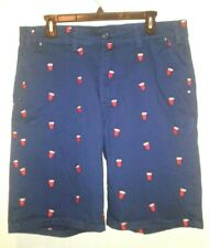 Request Jeans Premium Mens Size 34 Navy Blue Red Cup Bermuda Shorts