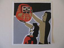 japanese small woodblock print - maekawa sempan -  hanging daruma lantern