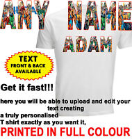 Personalised T-shirt Custom Name Marvel Avengers Printed Party Kids DTG