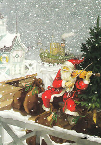 Kunstkarte: Inge Löök - Geige spielender Weihnachtsmann / Nr. 201