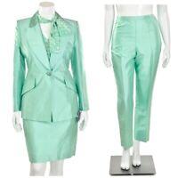 Escada $2,745 3Pc Mint Silk Evening Jacket, Skirt & Pant Suit size 10/40, 14/44