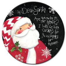 Dear Navidad Papá Noel 13in. VIDRIO TEMPLADO Bandeja Giratoria Plato Giratorio