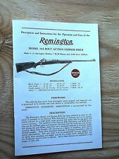 REMINGTON MODEL 30-S BOLT ACTION EXPRESS RIFLE OPERATION AND CARE OWNERS MANUAL