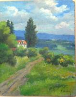 tableau huile panneau - paysage vers 1920   - signée F Ehrlich