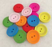 100pcs Mixed Colors Round 2 Holes Wood Buttons Sewing Scrapbooking 20mm Knk222