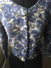 H&M cardigan floral print blue grey cream angora/lambswool/Polyamide VGC S36