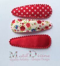 Baby Girl Toddler Non Slip Hair Clips Bow 4.7 cm Snap Clips  Red  Set of 3