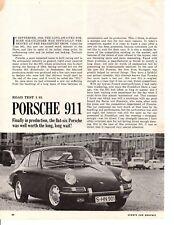 1965 PORSCHE 911  ~  ORIGINAL 5-PAGE ROAD TEST / ARTICLE / AD
