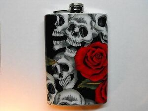 FD177 - Skull and Red Roses Decorated 8oz. Flasks - Day of the Dead