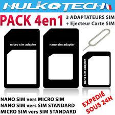 KIT 4 EN 1 ADAPTATEUR NANO SIM MICRO SIM SIM + CLE ✔ COMPATIBLE POUR SMARTPHONES