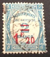 timbre TAXE, n°62, 1,2/2f bleu, Obl, CN, cote 16e