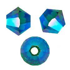 15 Perles Toupies 4mm Cristal Swarovski  - EMERALD AB2X