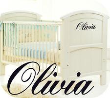 BABY GIRL PERSONALISED COT STICKER - NURSERY ROOM GIRLS - KIDS - BEDROOM OR COT