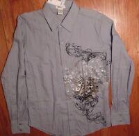 NWT, POP ICON, Graphic, Soft-Blue-Grey, Size Medium, Textured Fabric (379)