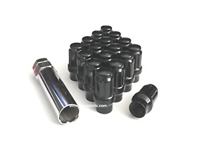 10x 1/2 SPLINE ET (EXTENDED THREAD) TUNER LUG NUTS 1/2-20 BLACK DODGE FORD CHEVY