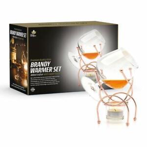 Brandy Cognac Snifter WARMER Glass & Copper Stand Gift Boxed Tumbler Bar Set UK
