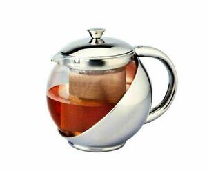 500ml Stylish  Stainless Steel & Glass Teapot & Loose Tea Leaf Infuser Tea Pot