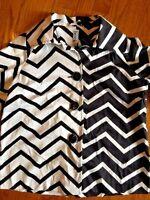BEREK Womens CHEVRON ZEBRA Black & White Coat Blazer JACKET Shirt BLOUSE SIZE M