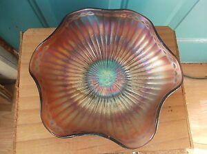 Vintage Marigold and Purple Ribbed Carnival Glass Ruffled Bowl