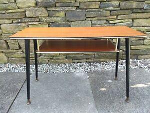 Vtg 50s Coffee Table Dansette Legs Wood Retro Two Levels Mid Century Modern