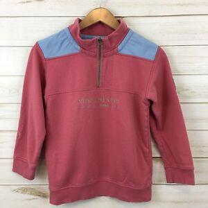 Vineyard Vines Youth 1/4 Zip Coral Pink/Blue LS Shep Sweatshirt. M(12-14).