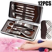 12PCS Manicure Pedicure Tools Set Nail Clipper Clean Ear Cuticle Grooming Feet