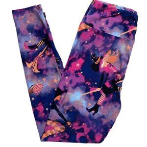 Lularoe Tc2 Halloween Leggings 2021 Witch Please Witch Broom Purple Pink Tie Dye