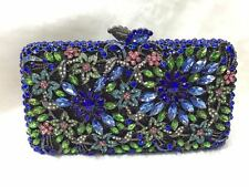 Blue/Green ~ Floral Flower Handmade Austrian Crystals Evening Cocktail Bag