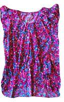 6X Epic Threads Girls Floral Shirt Pink Blue Cap Short Sleeve Multi-Color Flowy